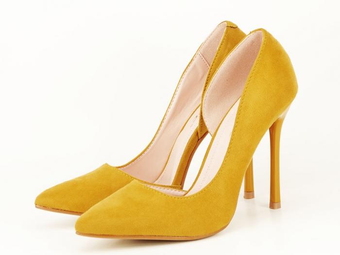 Pantofi eleganti galbeni decupati lateral Aniston 0