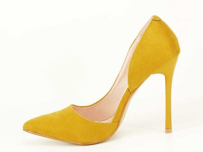 Pantofi eleganti galbeni decupati lateral Aniston 2