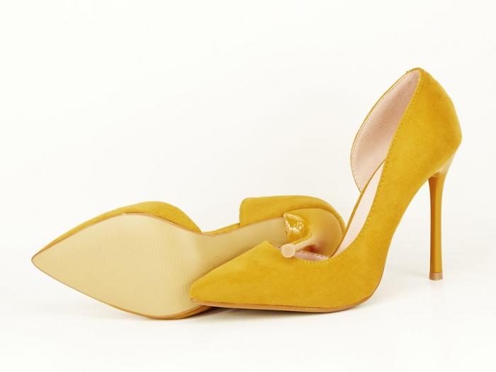 Pantofi eleganti galbeni decupati lateral Aniston 8