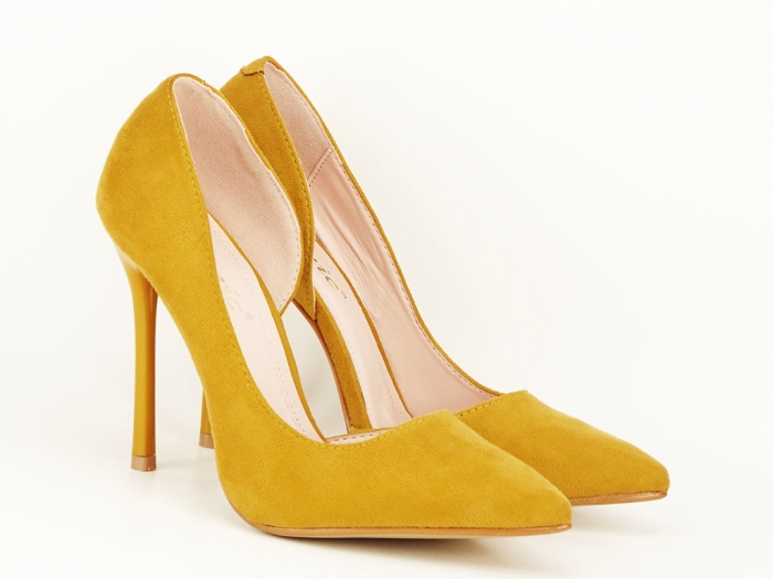 Pantofi eleganti galbeni decupati lateral Aniston 3