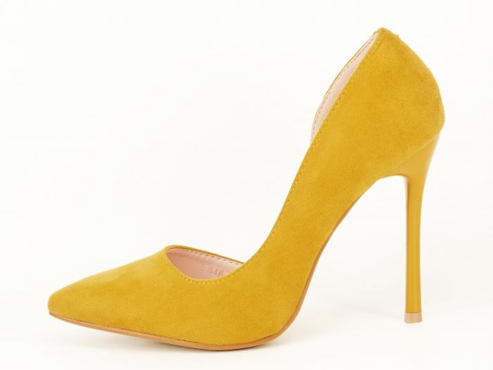 Pantofi eleganti galbeni decupati lateral Aniston 1