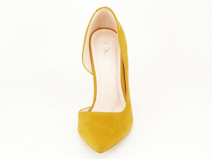 Pantofi eleganti galbeni decupati lateral Aniston 4
