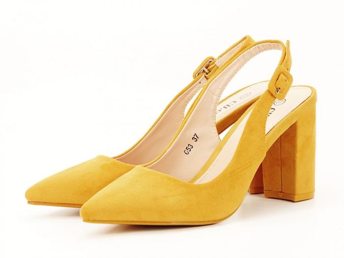 Pantofi galbeni decupati Elina 3