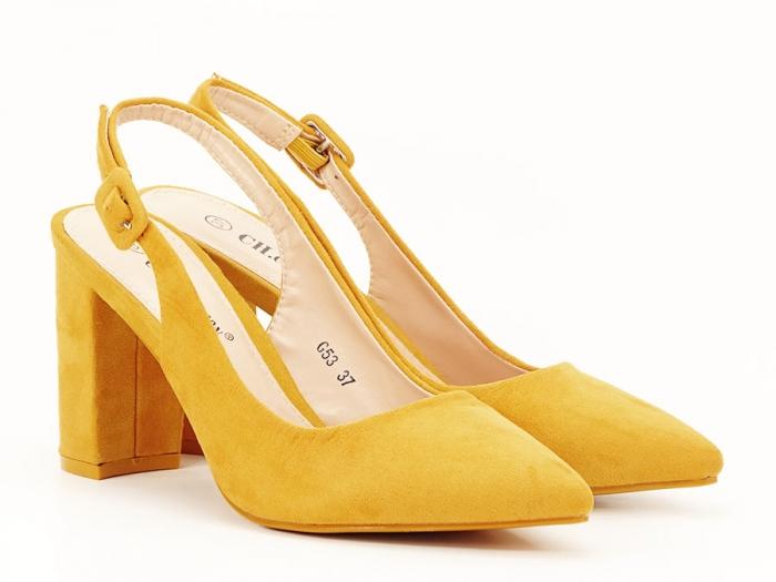 Pantofi galbeni decupati Elina 2