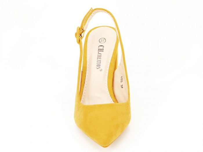 Pantofi galbeni decupati Elina 7