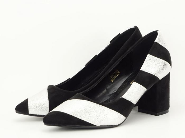 Pantofi in doua culori cu toc mic Eugenia 2