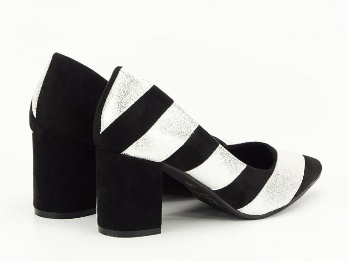 Pantofi in doua culori cu toc mic Eugenia 7