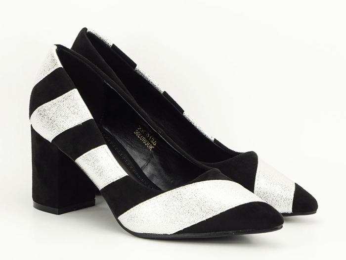 Pantofi in doua culori cu toc mic Eugenia 4