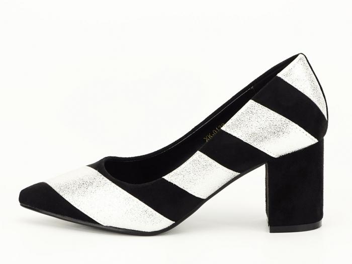 Pantofi in doua culori cu toc mic Eugenia 0