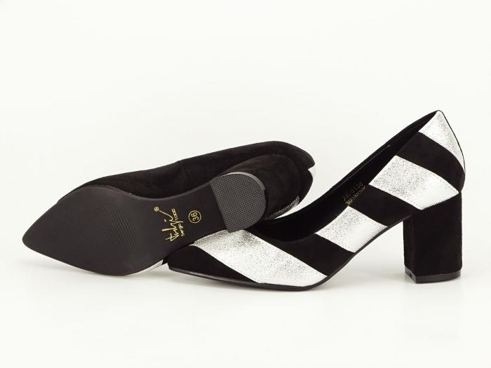 Pantofi in doua culori cu toc mic Eugenia 1