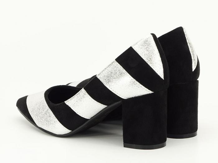 Pantofi in doua culori cu toc mic Eugenia 5