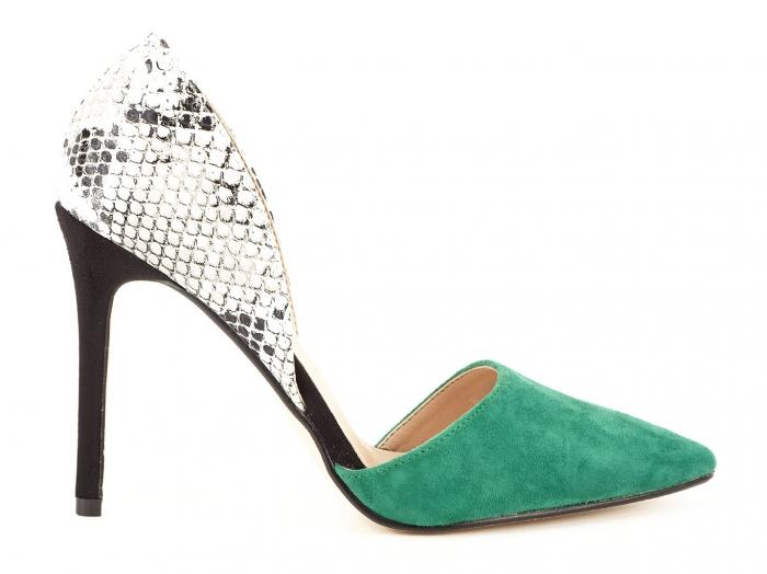 Pantofi stiletto verzi cu imprimeu de sarpe Lori 7