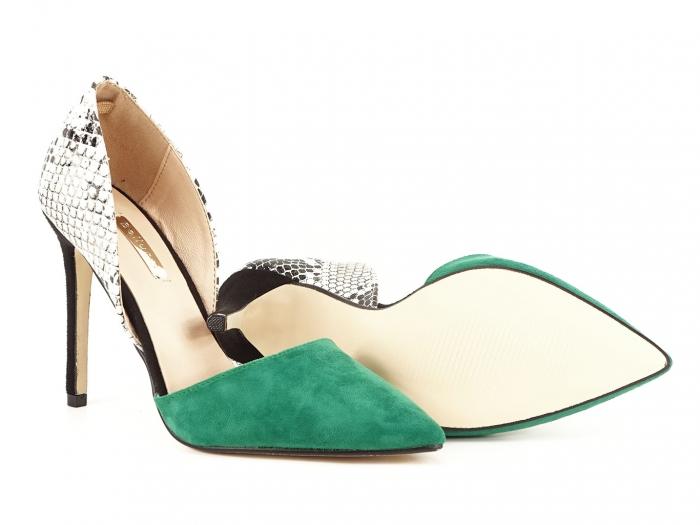 Pantofi stiletto verzi cu imprimeu de sarpe Lori 2