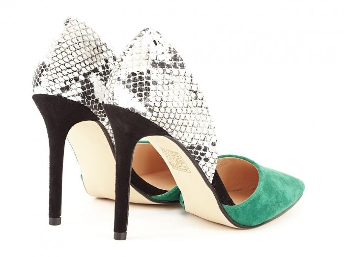 Pantofi stiletto verzi cu imprimeu de sarpe Lori 3