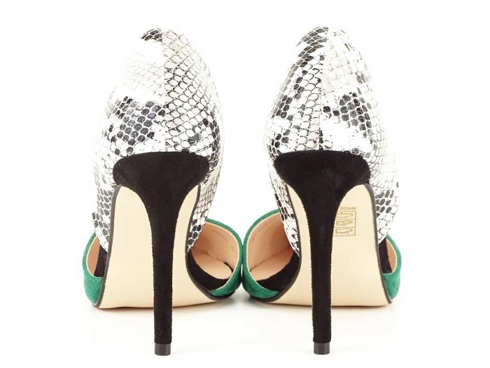 Pantofi stiletto verzi cu imprimeu de sarpe Lori 4