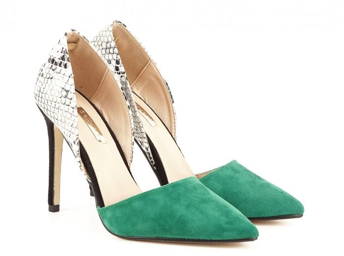Pantofi stiletto verzi cu imprimeu de sarpe Lori 1