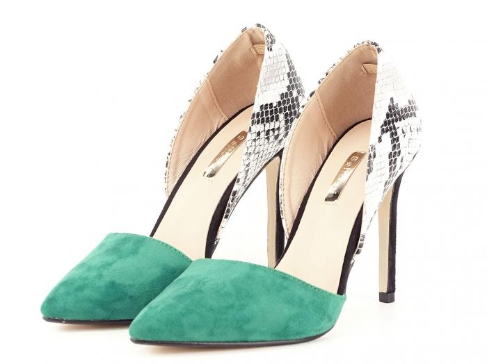 Pantofi stiletto verzi cu imprimeu de sarpe Lori 5