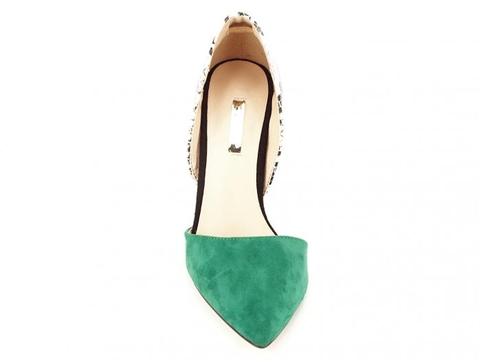 Pantofi stiletto verzi cu imprimeu de sarpe Lori 6