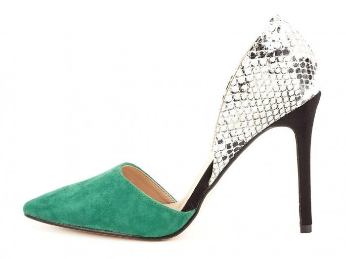 Pantofi stiletto verzi cu imprimeu de sarpe Lori 0