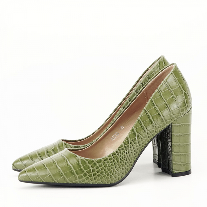 Pantofi kaki cu imprimeu Dalma 5