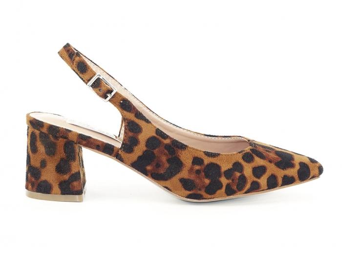 Pantofi cu imprimeu leopard decupati la spate Valeria 0