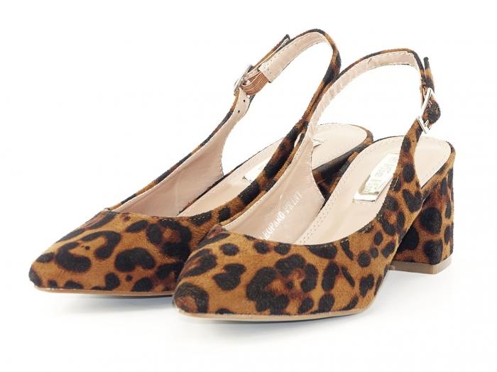 Pantofi cu imprimeu leopard decupati la spate Valeria 5