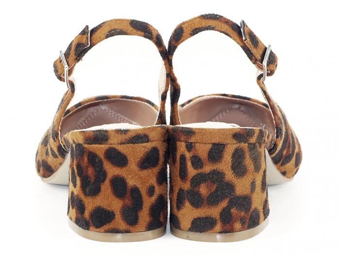 Pantofi cu imprimeu leopard decupati la spate Valeria 4