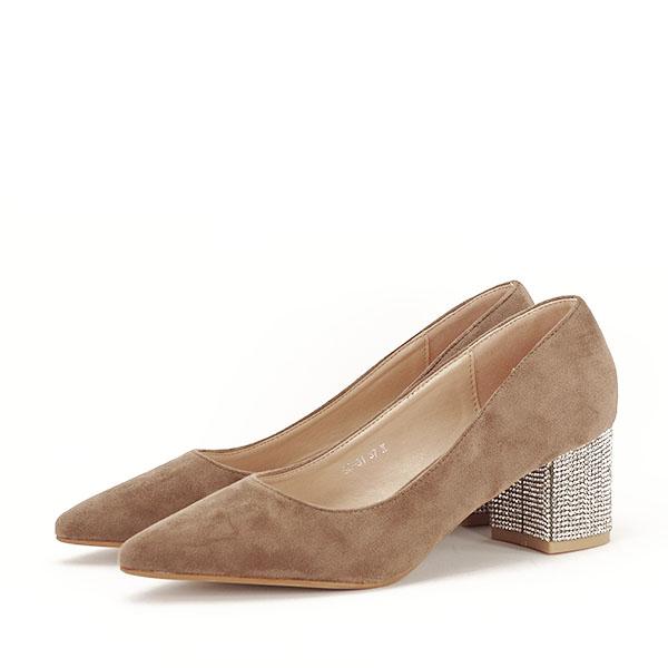 Pantofi maro deschis cu toc mic Ioana [2]