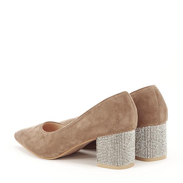 Pantofi maro deschis cu toc mic Ioana [6]