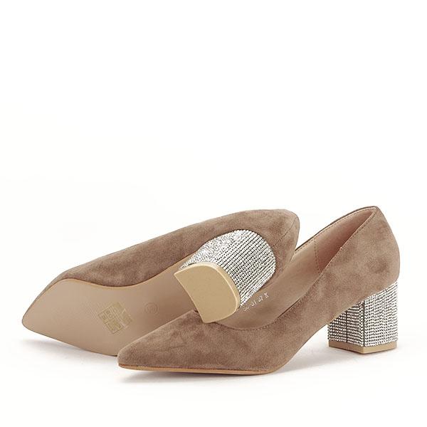 Pantofi maro deschis cu toc mic Ioana [3]