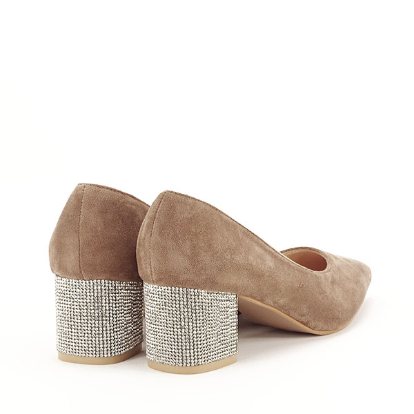 Pantofi maro deschis cu toc mic Ioana [4]
