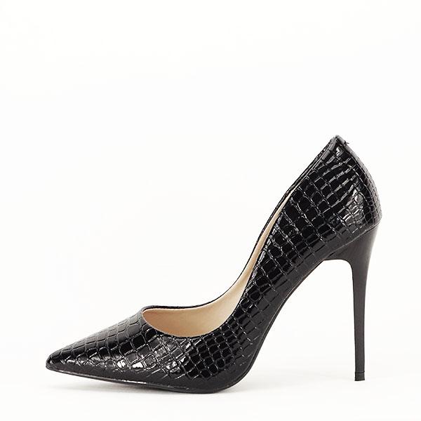 Pantofi negri cu imprimeu Alice [0]