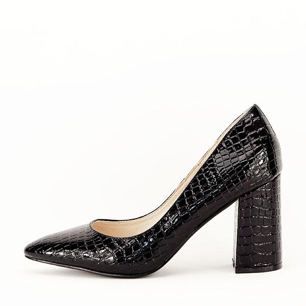 Pantofi negri cu imprimeu Bianca 0