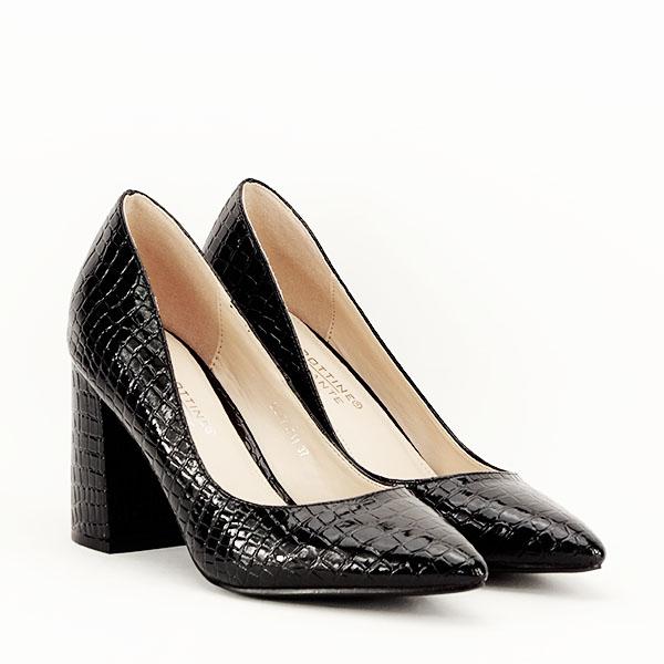 Pantofi negri cu imprimeu Bianca 3