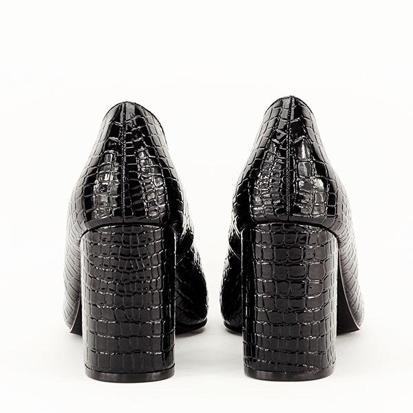 Pantofi negri cu imprimeu Bianca 6