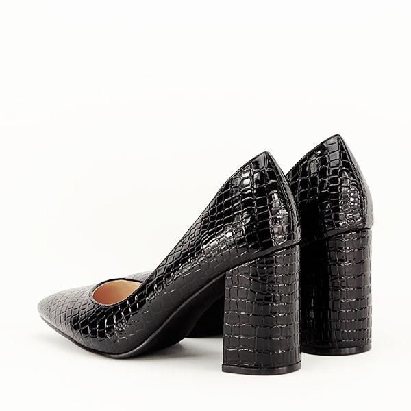 Pantofi negri cu imprimeu Bianca 4