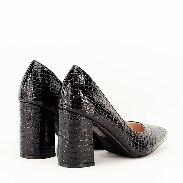 Pantofi negri cu imprimeu Bianca 5