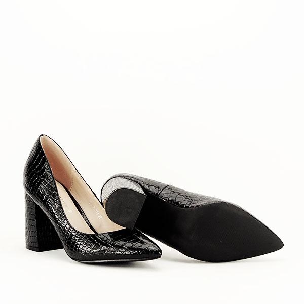 Pantofi negri cu imprimeu Bianca 7