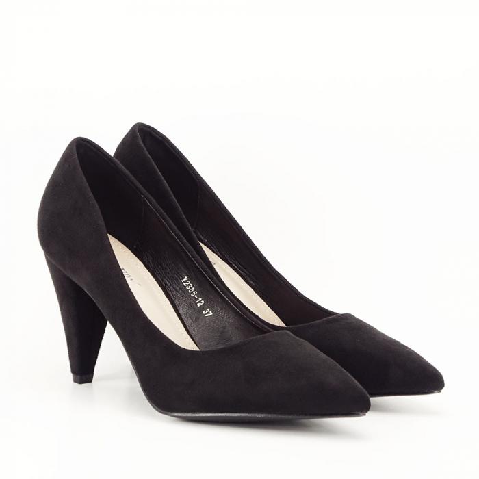 Pantofi negri cu toc conic Dion 5