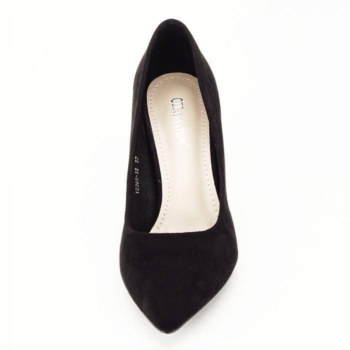Pantofi negri cu toc conic Dion 6