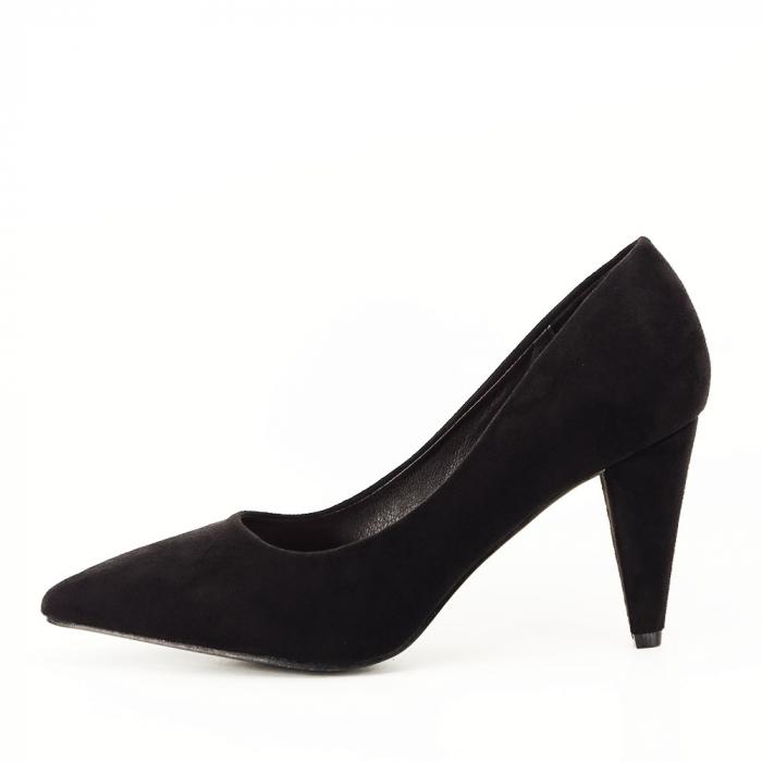 Pantofi negri cu toc conic Dion 0
