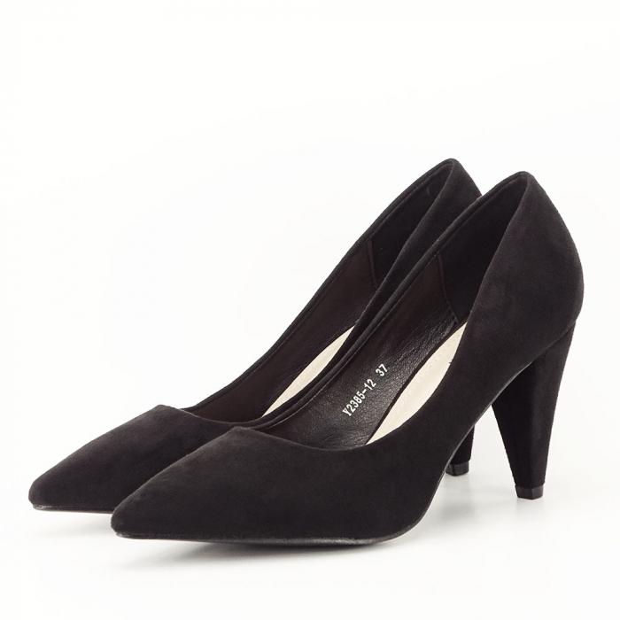Pantofi negri cu toc conic Dion 1