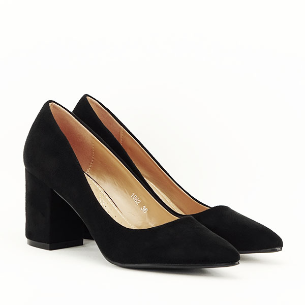 Pantofi negri cu toc gros Adelina 2