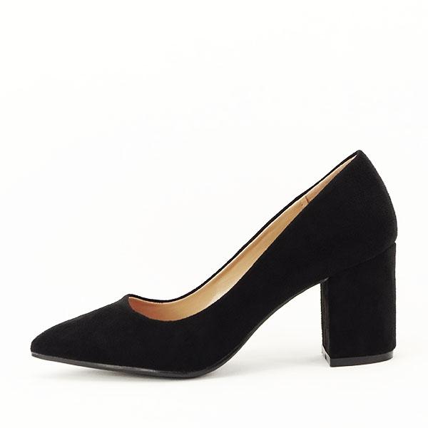 Pantofi negri cu toc gros Adelina 0