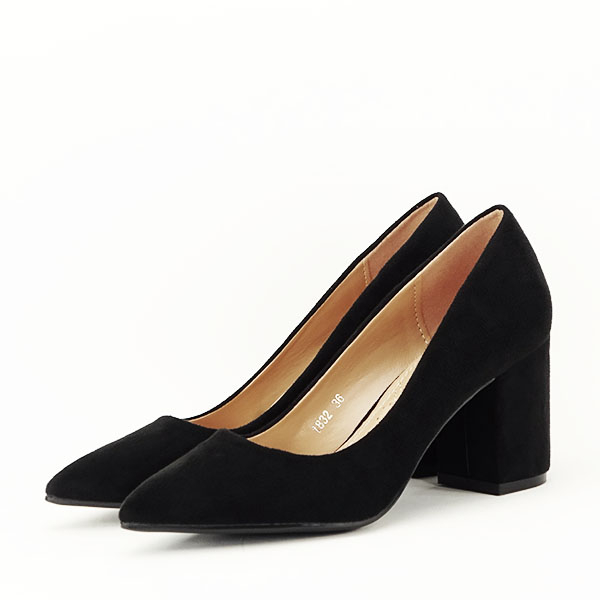 Pantofi negri cu toc gros Adelina 1