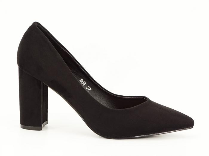 Pantofi office negri cu toc gros Anina 1