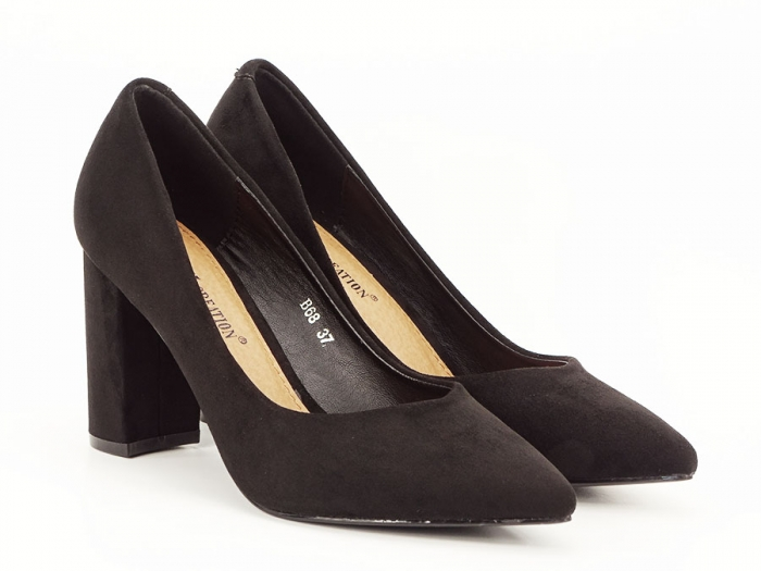 Pantofi office negri cu toc gros Anina 3