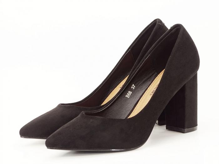 Pantofi office negri cu toc gros Anina 0