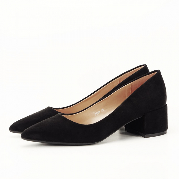 Pantofi negri cu toc mic Carla [1]