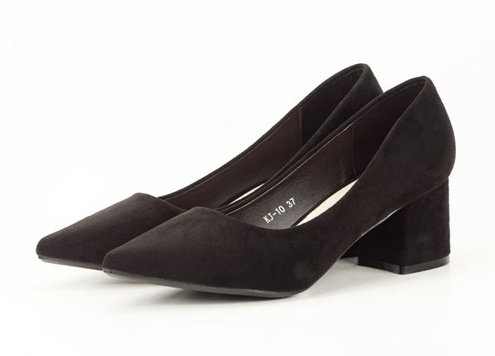 Pantofi negri din velur ecologic cu toc mic Cristina 5